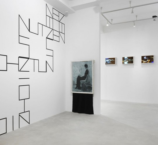 Dirk Bell, Nichztunutzen (2015), Painting (Mistress) (2014), Rivka Rinn, Take Off I / II / III (2014), exhibition view Neuer Berliner Kunstverein, photo: Jens Ziehe, 2015