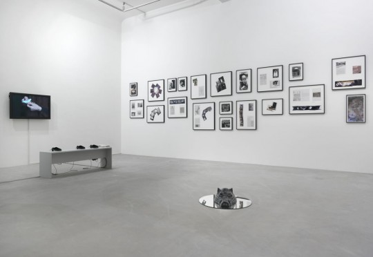 Sonya Schönberger, Michael, (2014), Dani Gal, Reality Estates: Fake Properties, Lifta (2015), Assaf Gruber, The Anonymity of the Night (2014), exhibition view Neuer Berliner Kunstverein, photo: Jens Ziehe, 2015