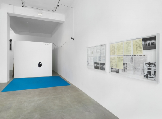 Exhibition view These Are the Only Times You Have Known, Neuer Berliner Kunstverein, 2020, works by Doireann O'Malley, Leon Kahane © Neuer Berliner Kunstverein / Jens Ziehe